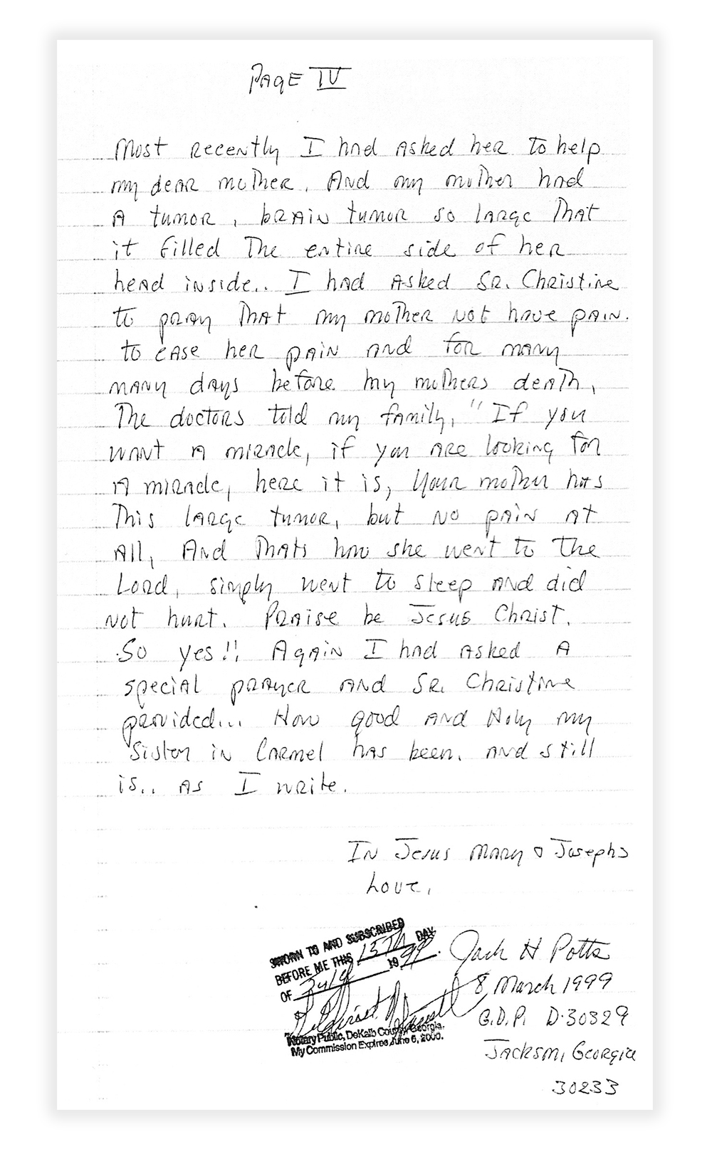 frances nevins miracle jack potts letter